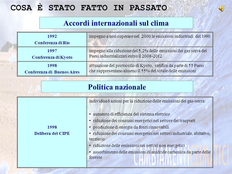 Accordi internazionali sul clima 1992 Conferenza di Rio impegno a non superare nel 2000 le emissioni industriali del 1990 1997 Conferenza di Kyoto imp