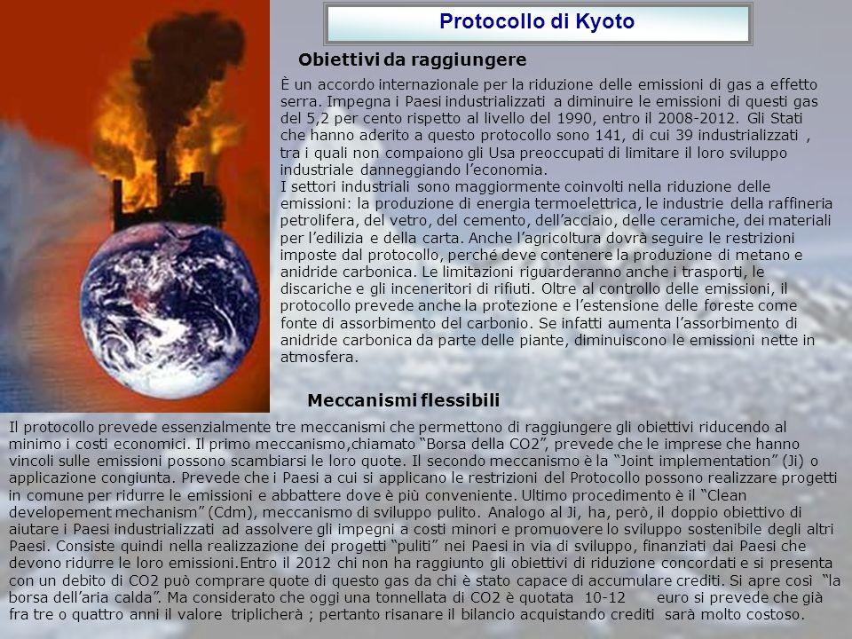 Protocollo di Kyoto Obiettivi da raggiungere È un accordo internazionale per la riduzione delle emissioni di gas a effetto serra. Impegna i Paesi indu