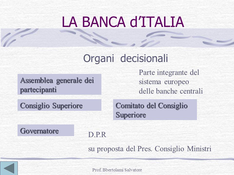 Prof. Bbertolami Salvatore LA BANCA dITALIA Organi decisionali Parte integrante del sistema europeo delle banche centrali Assemblea generale dei parte