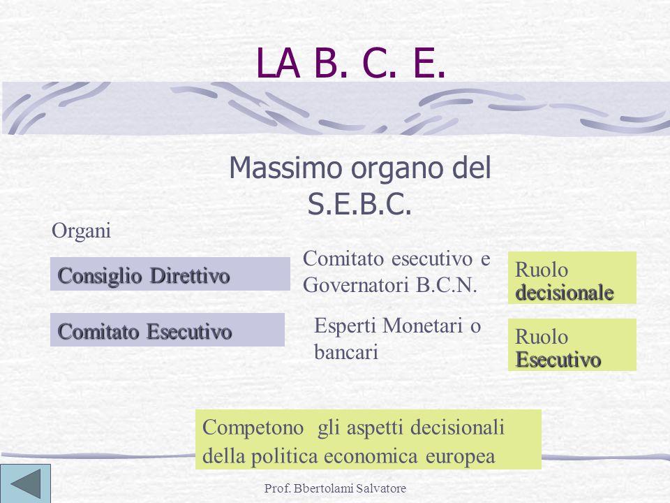 Prof. Bbertolami Salvatore LA B. C. E. Massimo organo del S.E.B.C. Competono gli aspetti decisionali della politica economica europea Consiglio Dirett