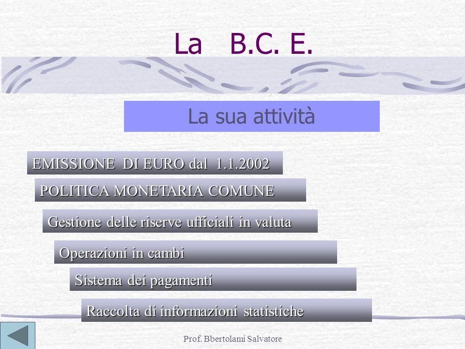 Prof. Bbertolami Salvatore La B.C. E. La sua attività EMISSIONE DI EURO dal 1.1.2002 POLITICA MONETARIA COMUNE Gestione delle riserve ufficiali in val