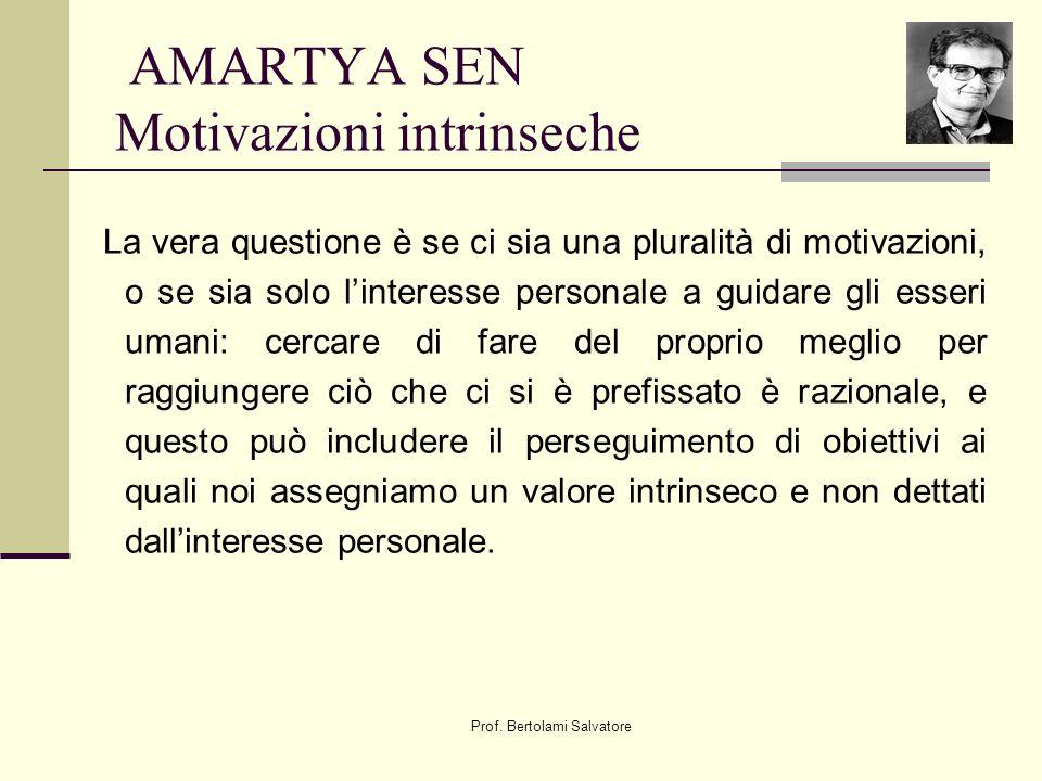 Prof. Bertolami Salvatore AMARTYA SEN Motivazioni intrinseche La vera questione è se ci sia una pluralità di motivazioni, o se sia solo linteresse per