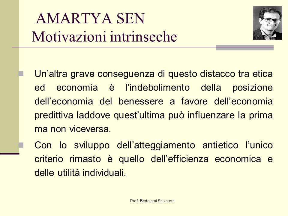 Prof. Bertolami Salvatore AMARTYA SEN Motivazioni intrinseche Unaltra grave conseguenza di questo distacco tra etica ed economia è lindebolimento dell