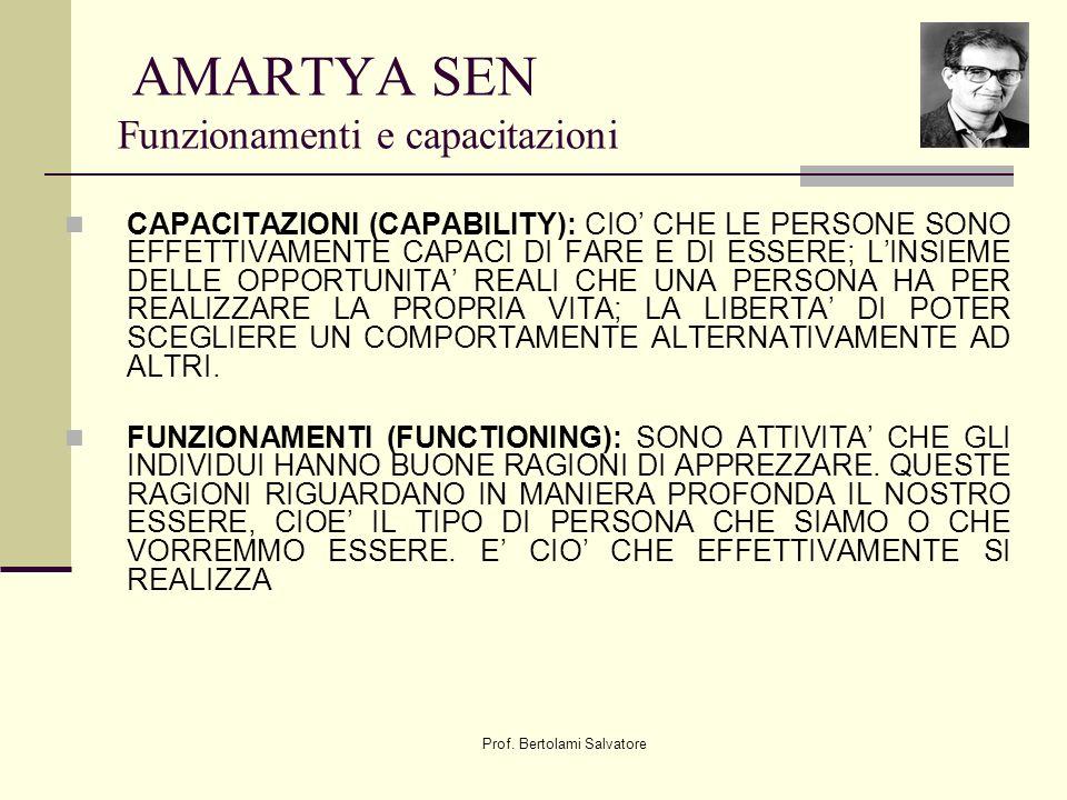 Prof. Bertolami Salvatore AMARTYA SEN Funzionamenti e capacitazioni CAPACITAZIONI (CAPABILITY): CIO CHE LE PERSONE SONO EFFETTIVAMENTE CAPACI DI FARE