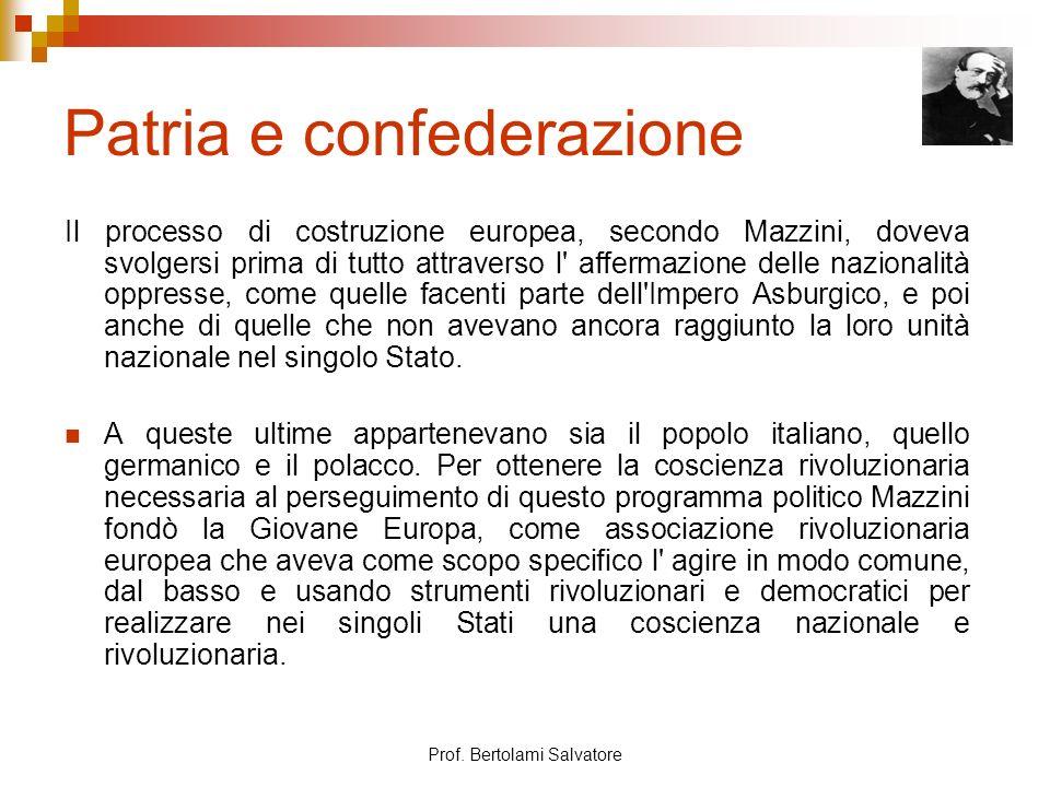 Prof. Bertolami Salvatore Patria e confederazione Il processo di costruzione europea, secondo Mazzini, doveva svolgersi prima di tutto attraverso l' a