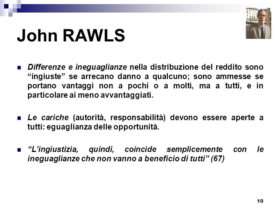 10 John RAWLS Differenze e ineguaglianze nella distribuzione del reddito sono ingiuste se arrecano danno a qualcuno; sono ammesse se portano vantaggi
