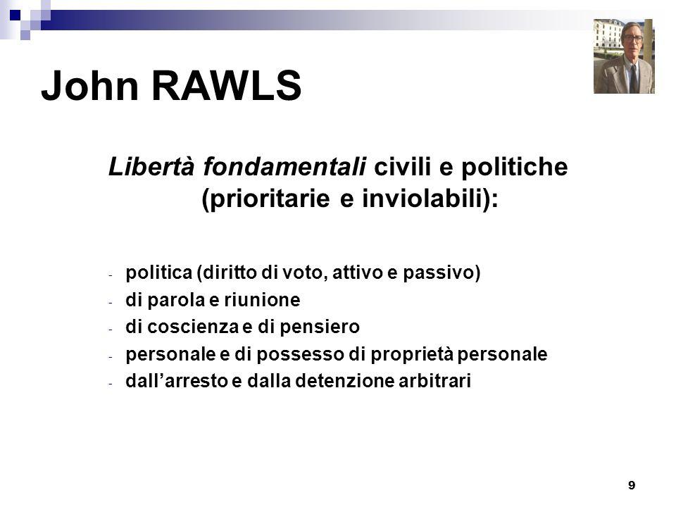 9 John RAWLS Libertà fondamentali civili e politiche (prioritarie e inviolabili): - politica (diritto di voto, attivo e passivo) - di parola e riunion