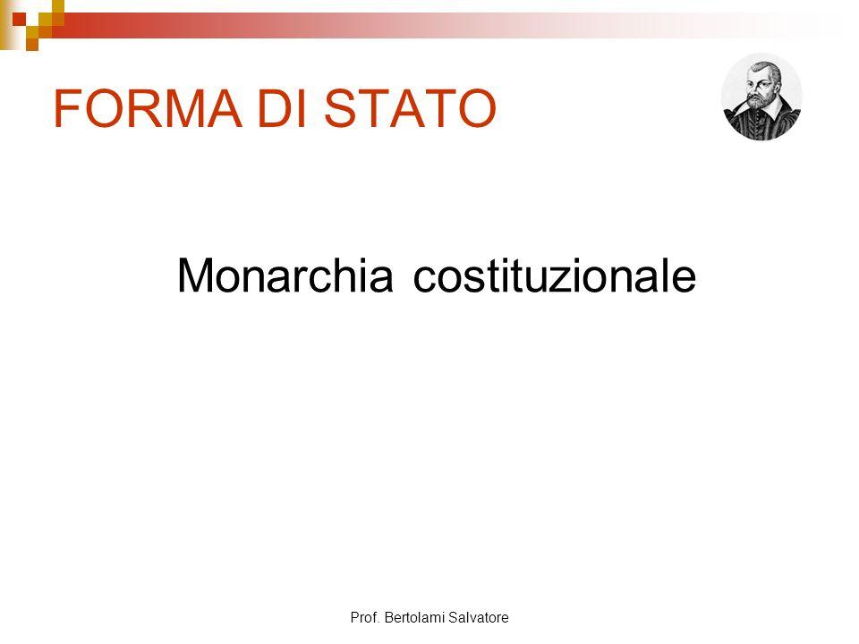 Prof. Bertolami Salvatore FORMA DI STATO Monarchia costituzionale
