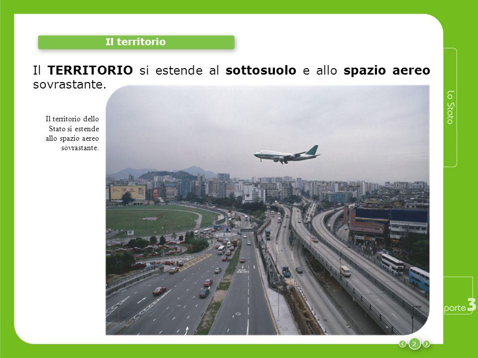 2 Il territorio Il TERRITORIO si estende al sottosuolo e allo spazio aereo sovrastante. Il territorio dello Stato si estende allo spazio aereo sovrast