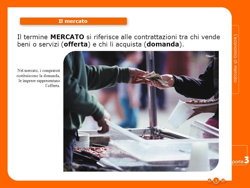 1 Il mercato Il termine MERCATO si riferisce alle contrattazioni tra chi vende beni o servizi (offerta) e chi li acquista (domanda). Nel mercato, i co