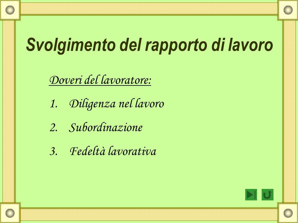 Svolgimento del rapporto di lavoro Doveri del lavoratore: 1.Diligenza nel lavoro 2.Subordinazione 3.Fedeltà lavorativa