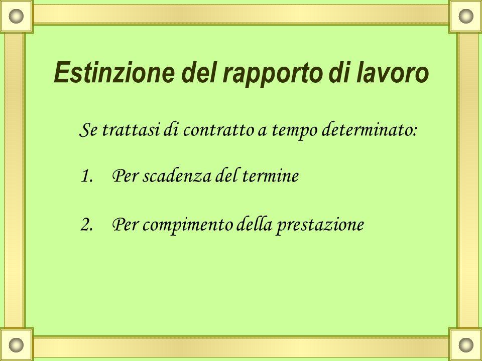 Estinzione del rapporto di lavoro Se trattasi di contratto a tempo determinato: 1.Per scadenza del termine 2.Per compimento della prestazione
