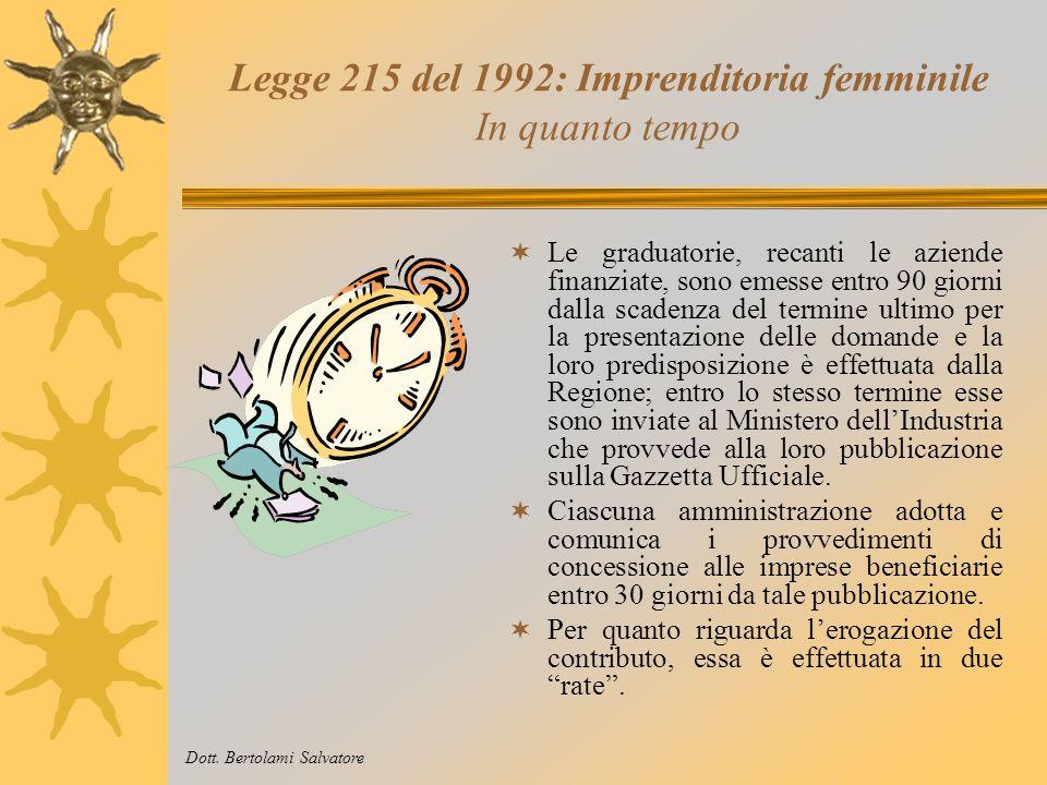 Legge 215 del 1992: Imprenditoria femminile Quanto finanzia Dott. Bertolami Salvatore