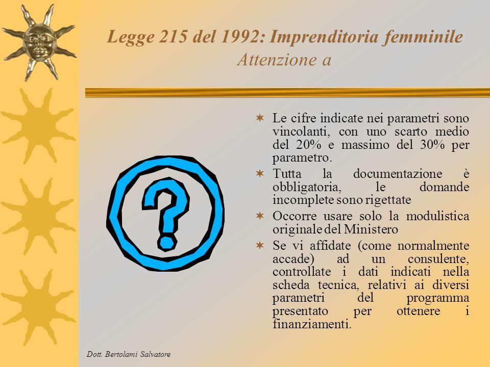Legge 215 del 1992: Imprenditoria femminile Cosa bisogna fare I documenti necessari sono formati da: Modulo di richiesta delle agevolazioni: contenent