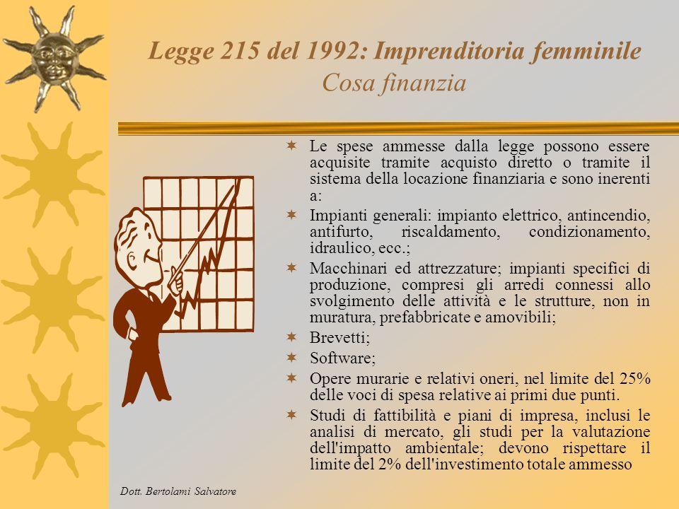 Legge 215 del 1992: Imprenditoria femminile Come opera La legge 215 opera con un meccanismo, detto a bando. Le tipologie di programmi di investimento
