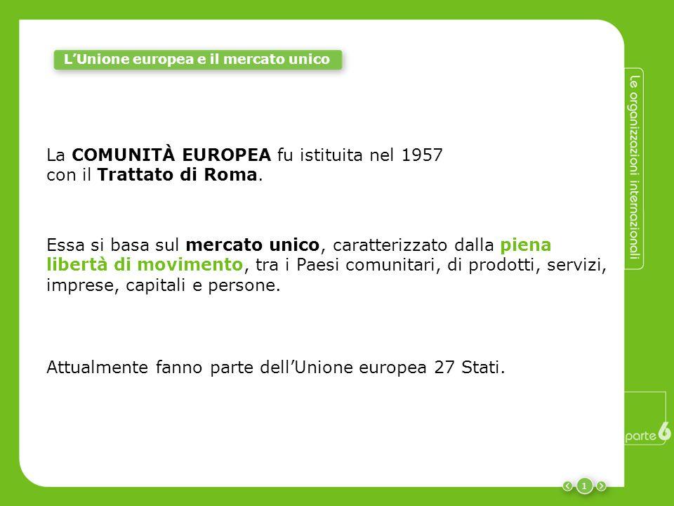 1 La COMUNITÀ EUROPEA fu istituita nel 1957 con il Trattato di Roma. Essa si basa sul mercato unico, caratterizzato dalla piena libertà di movimento,