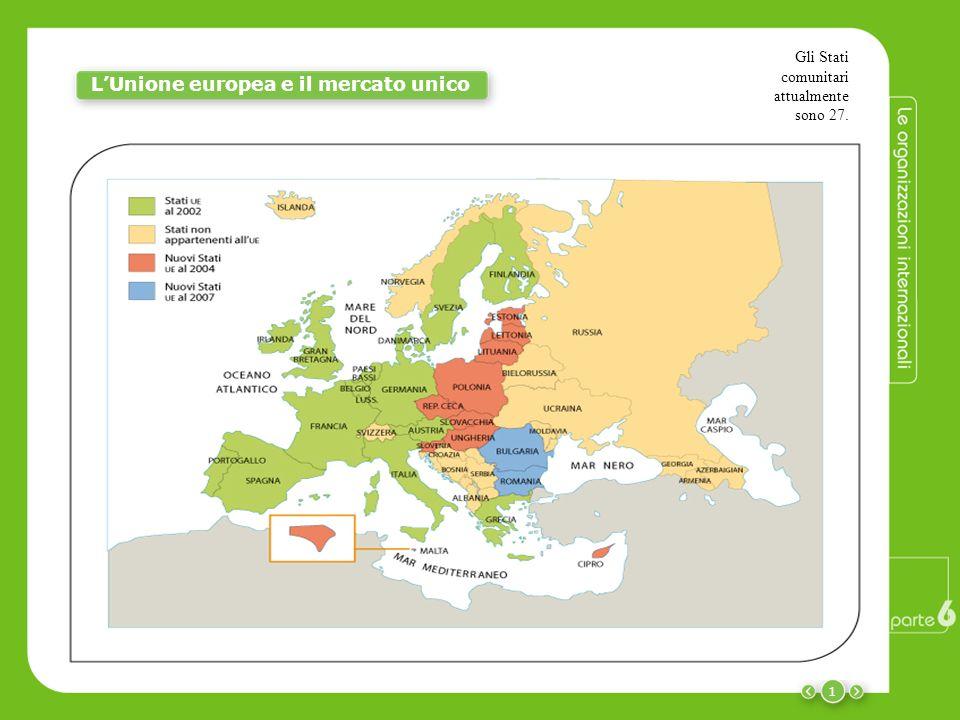 1 LUnione europea e il mercato unico Gli Stati comunitari attualmente sono 27.