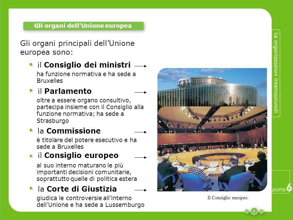 2 Gli organi dellUnione europea il Consiglio dei ministri ha funzione normativa e ha sede a Bruxelles il Parlamento oltre a essere organo consultivo,