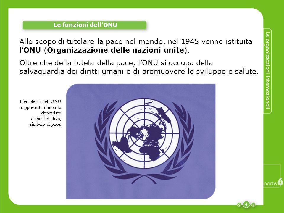 4 Le funzioni dellONU Allo scopo di tutelare la pace nel mondo, nel 1945 venne istituita lONU (Organizzazione delle nazioni unite). L emblema dell ONU