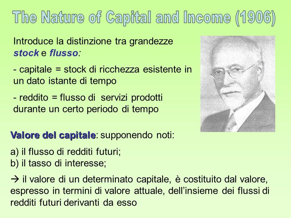 Introduce la distinzione tra grandezze stock e flusso: - capitale = stock di ricchezza esistente in un dato istante di tempo - reddito = flusso di ser