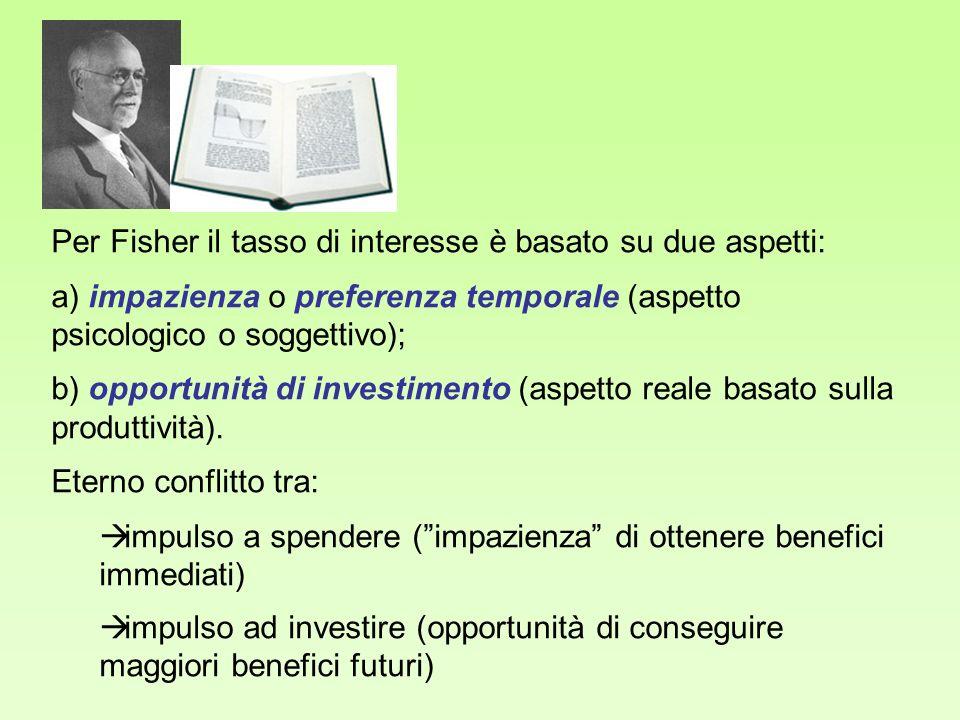 Per Fisher il tasso di interesse è basato su due aspetti: a) impazienza o preferenza temporale (aspetto psicologico o soggettivo); b) opportunità di i