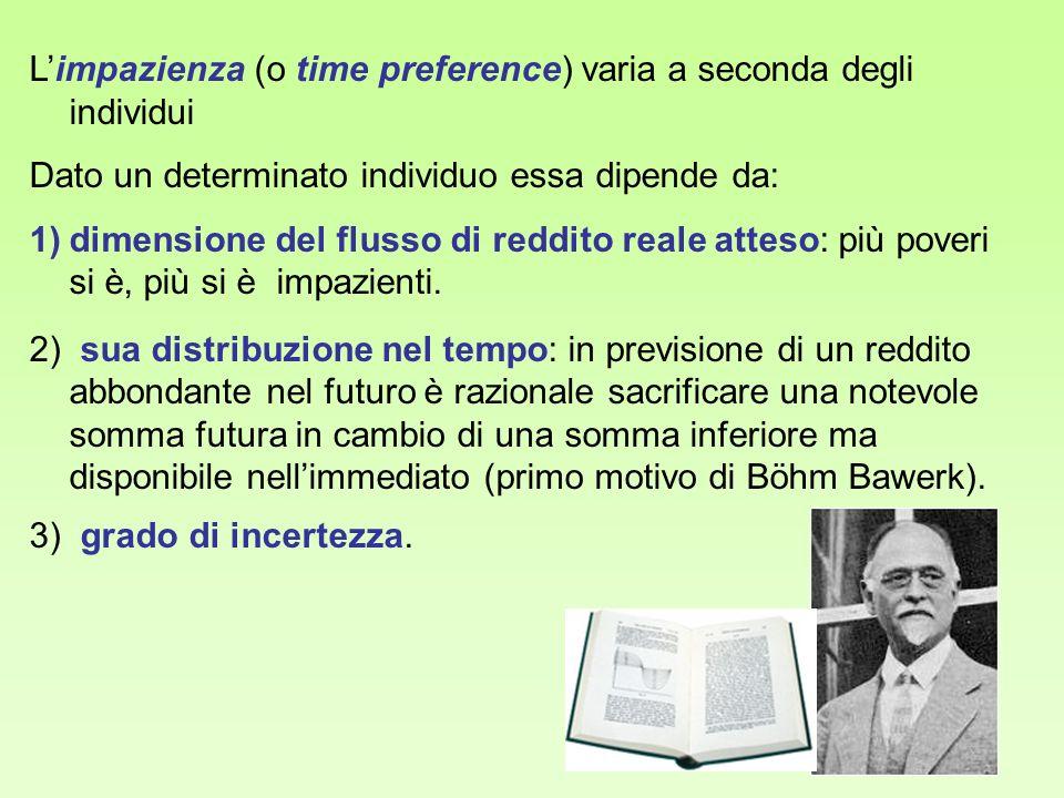 Limpazienza (o time preference) varia a seconda degli individui Dato un determinato individuo essa dipende da: 1)dimensione del flusso di reddito real