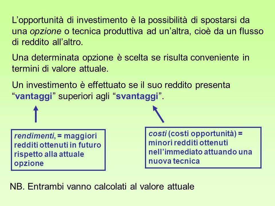 Lopportunità di investimento è la possibilità di spostarsi da una opzione o tecnica produttiva ad unaltra, cioè da un flusso di reddito allaltro. Una