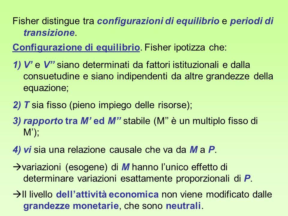 Fisher distingue tra configurazioni di equilibrio e periodi di transizione. Configurazione di equilibrio. Fisher ipotizza che: 1)V e V siano determina