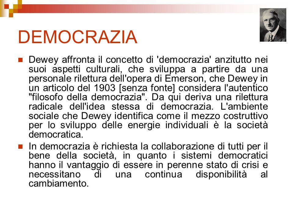 DEMOCRAZIA Dewey affronta il concetto di 'democrazia' anzitutto nei suoi aspetti culturali, che sviluppa a partire da una personale rilettura dell'ope