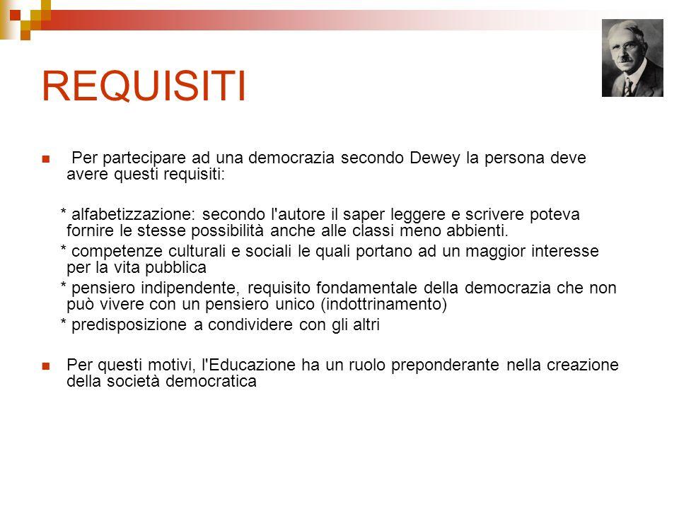 REQUISITI Per partecipare ad una democrazia secondo Dewey la persona deve avere questi requisiti: * alfabetizzazione: secondo l'autore il saper legger