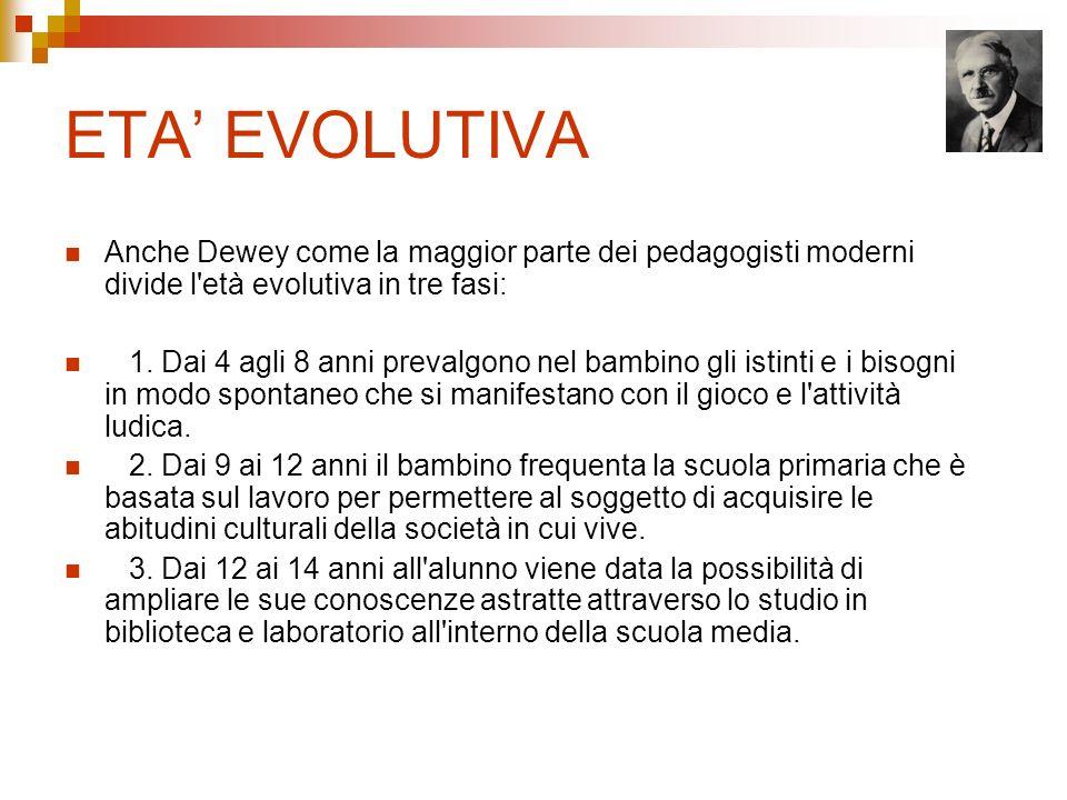 ETA EVOLUTIVA Anche Dewey come la maggior parte dei pedagogisti moderni divide l'età evolutiva in tre fasi: 1. Dai 4 agli 8 anni prevalgono nel bambin