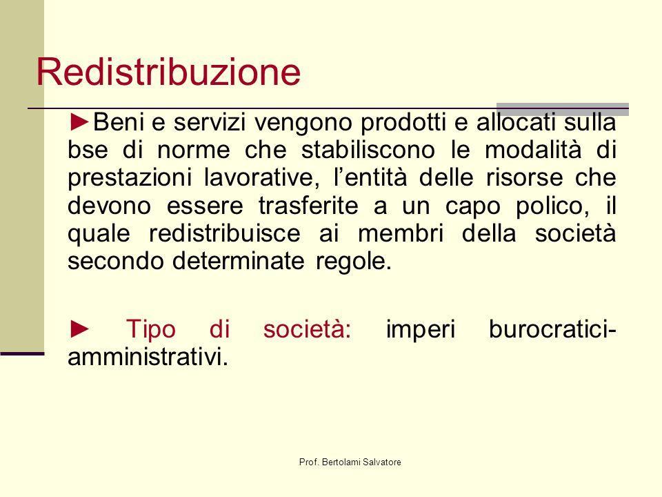 Prof. Bertolami Salvatore Redistribuzione Beni e servizi vengono prodotti e allocati sulla bse di norme che stabiliscono le modalità di prestazioni la