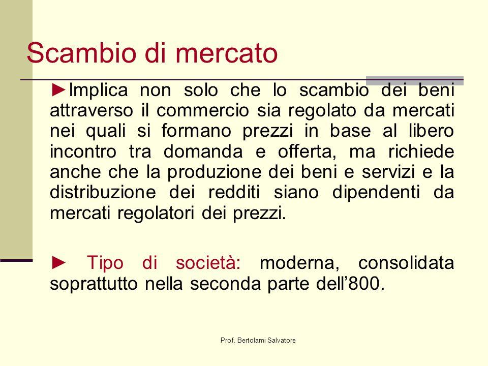 Prof. Bertolami Salvatore Scambio di mercato Implica non solo che lo scambio dei beni attraverso il commercio sia regolato da mercati nei quali si for