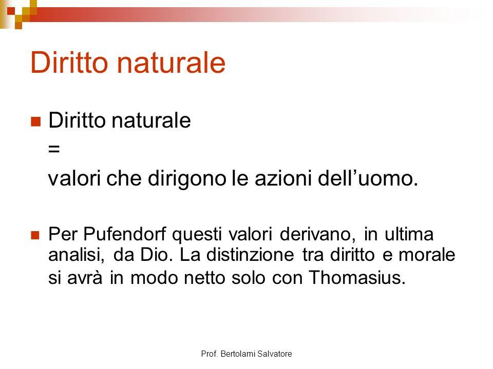 Prof. Bertolami Salvatore Diritto naturale = valori che dirigono le azioni delluomo. Per Pufendorf questi valori derivano, in ultima analisi, da Dio.