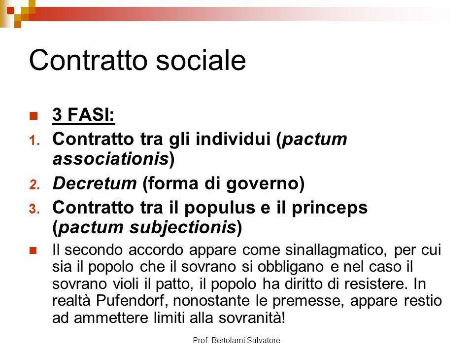 Prof. Bertolami Salvatore Contratto sociale 3 FASI: 1. Contratto tra gli individui (pactum associationis) 2. Decretum (forma di governo) 3. Contratto