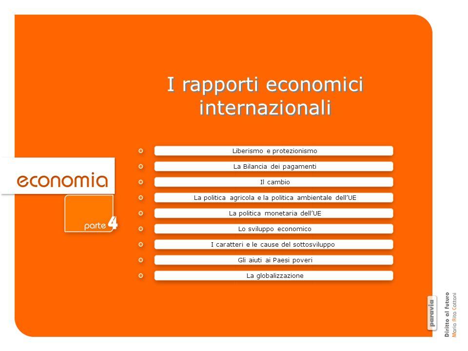 I rapporti economici internazionali I rapporti economici internazionali La Bilancia dei pagamenti Il cambio La politica agricola e la politica ambient