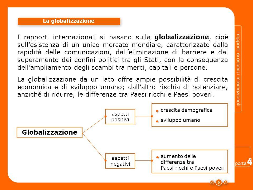 9 I rapporti internazionali si basano sulla globalizzazione, cioè sullesistenza di un unico mercato mondiale, caratterizzato dalla rapidità delle comu
