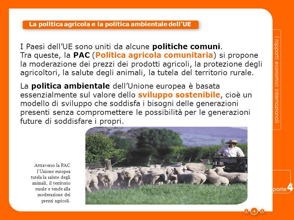 4 I Paesi dellUE sono uniti da alcune politiche comuni. Attraverso la PAC l Unione europea tutela la salute degli animali, il territorio rurale e tend
