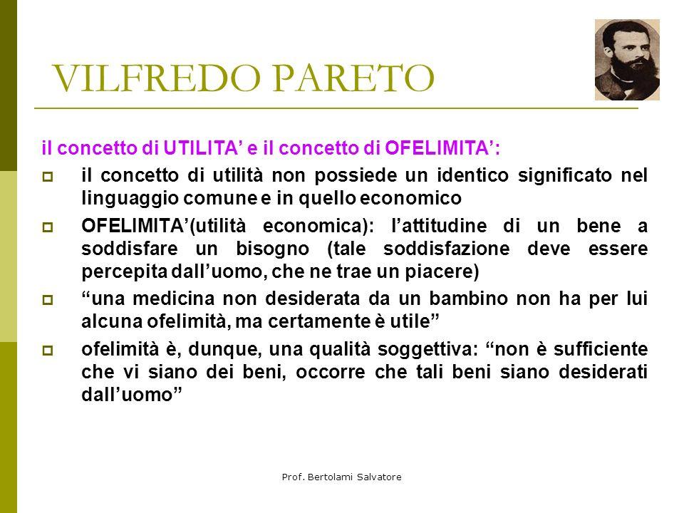 Prof. Bertolami Salvatore VILFREDO PARETO Vilfredo Pareto, economista e sociologo italiano, nacque a Parigi nel 1848, da padre italiano, un ingegnere