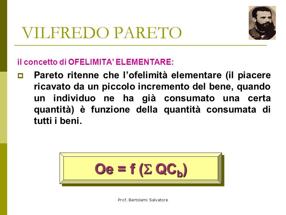 Prof. Bertolami Salvatore VILFREDO PARETO il concetto di UTILITA e il concetto di OFELIMITA: il concetto di utilità non possiede un identico significa