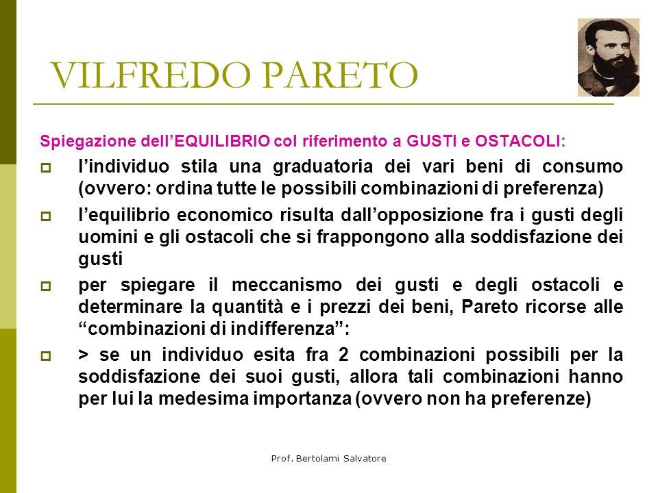 Prof. Bertolami Salvatore VILFREDO PARETO il concetto di OFELIMITA ELEMENTARE: Pareto ritenne che lofelimità elementare (il piacere ricavato da un pic