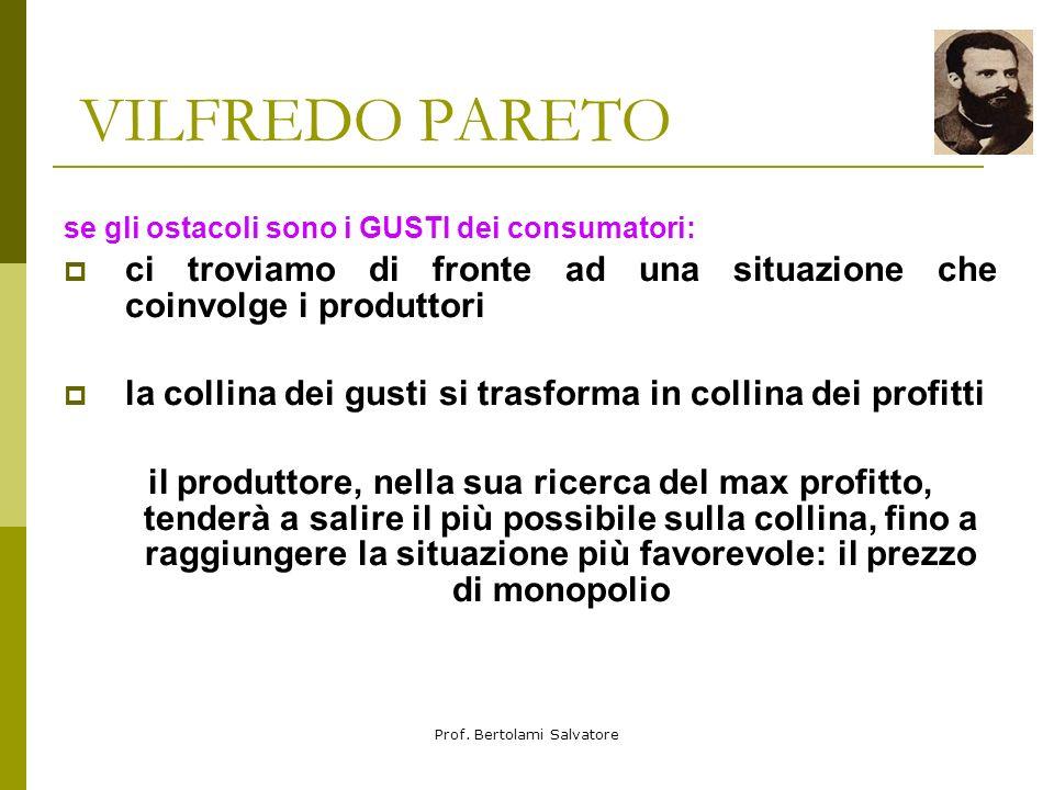 Prof. Bertolami Salvatore VILFREDO PARETO Per Pareto vi sono 2 generi di ostacoli: 1) i gusti degli altri consumatori 2) la limitazione della quantità