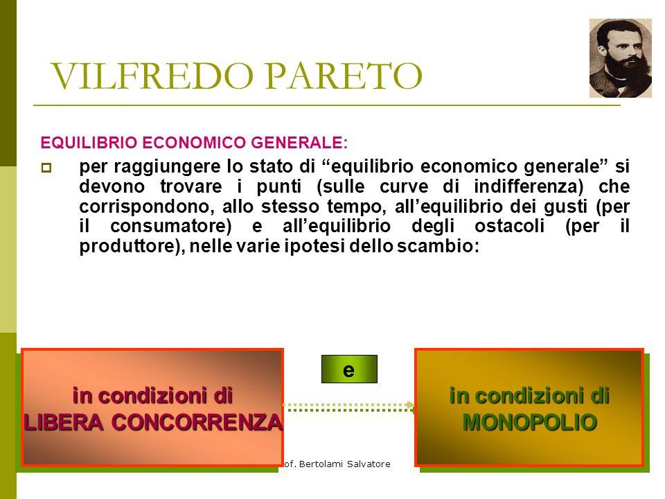 Prof. Bertolami Salvatore VILFREDO PARETO se gli ostacoli sono i GUSTI dei consumatori: ci troviamo di fronte ad una situazione che coinvolge i produt