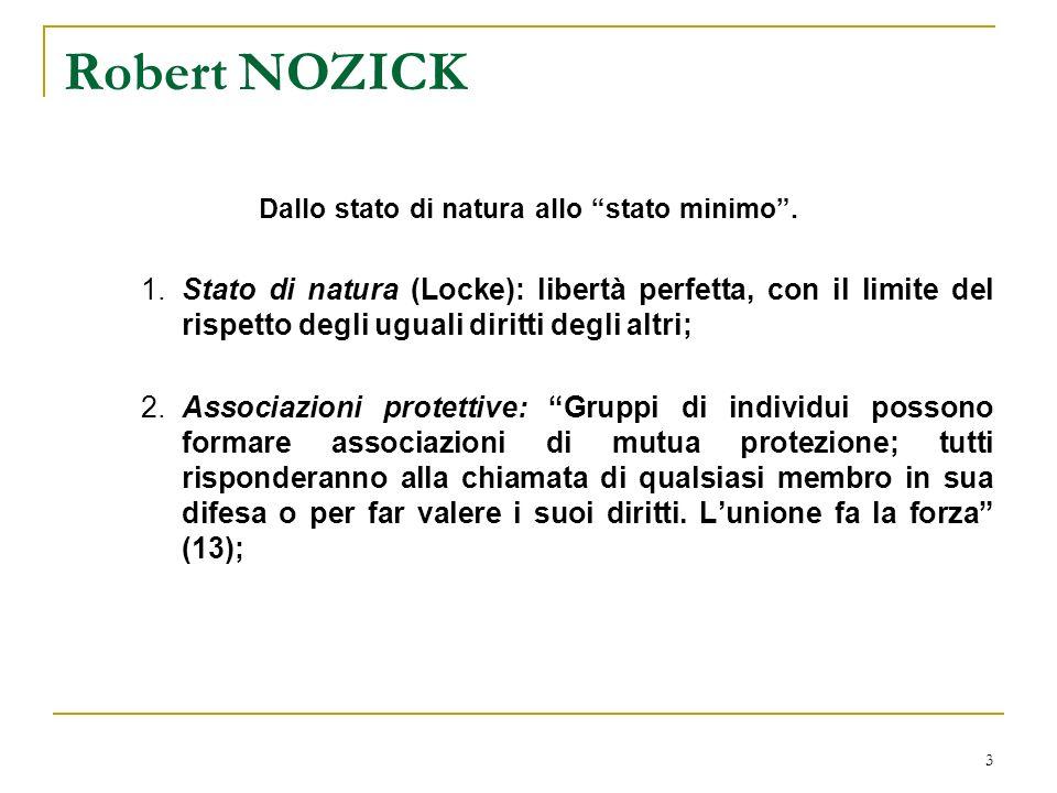 4 Robert NOZICK 3.Associazione protettiva dominante: che farà rispettare in un territorio più vasto le regole per tutti i suoi membri al suo interno.