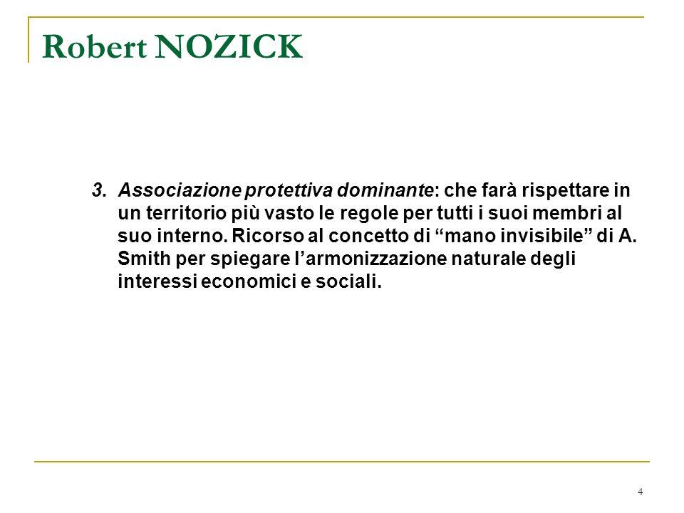 5 Robert NOZICK 4.Stato ultra-minimo: fornisce servizi di protezione e di applicazione dei diritti soltanto a chi compra le sue polizze di protezione e di applicazione dei diritti.
