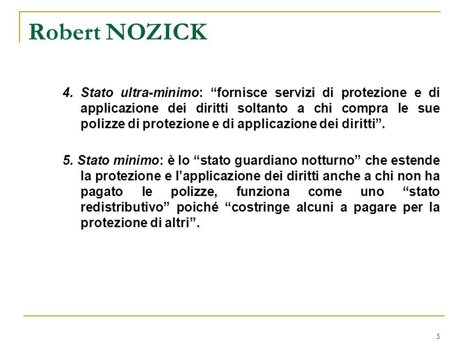 6 Robert NOZICK La teoria del titolo valido (entitlement), ovvero il problema della giustificazione dellindividualismo economico-sociale e dello stato minimo.