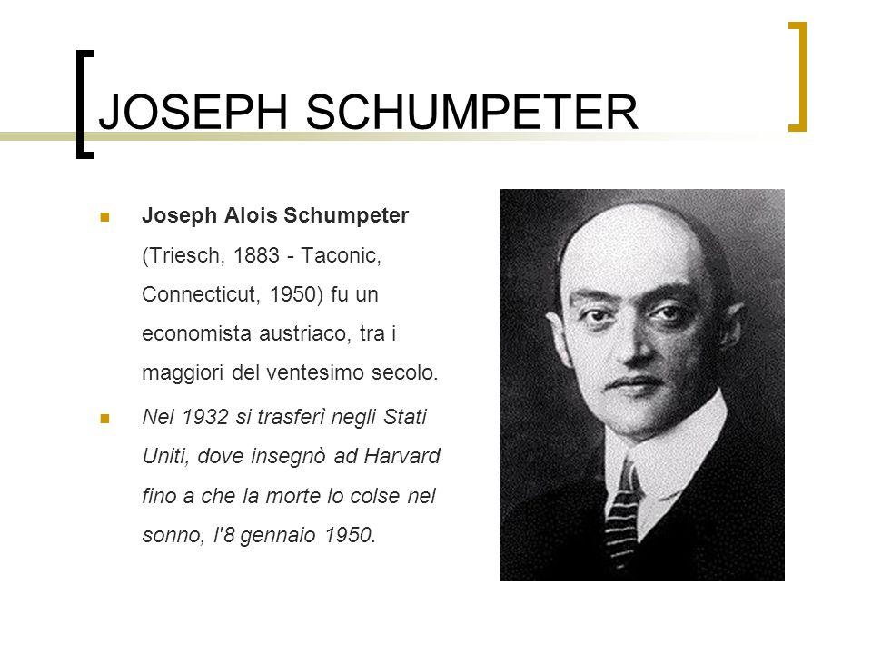 JOSEPH SCHUMPETER Joseph Alois Schumpeter (Triesch, 1883 - Taconic, Connecticut, 1950) fu un economista austriaco, tra i maggiori del ventesimo secolo