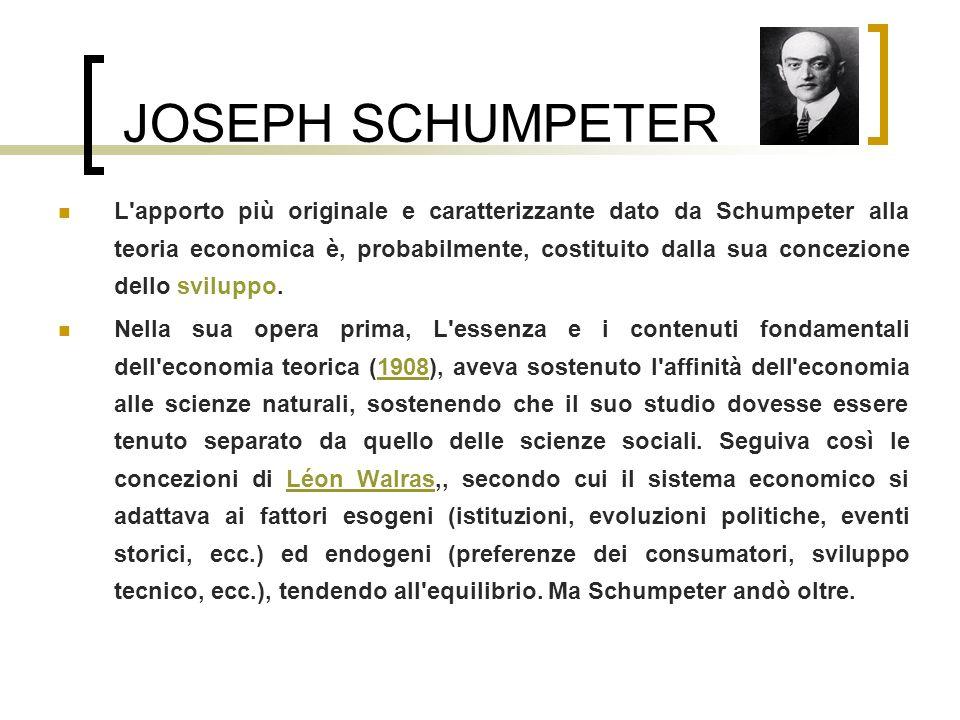 JOSEPH SCHUMPETER L'apporto più originale e caratterizzante dato da Schumpeter alla teoria economica è, probabilmente, costituito dalla sua concezione