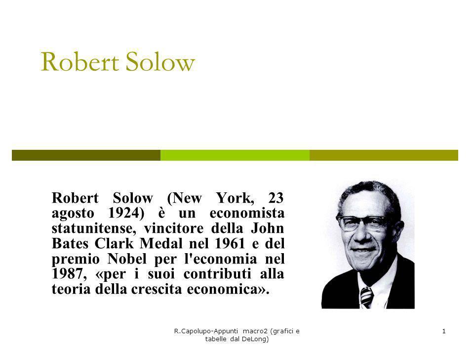 R.Capolupo-Appunti macro2 (grafici e tabelle dal DeLong) 1 Robert Solow Robert Solow (New York, 23 agosto 1924) è un economista statunitense, vincitor