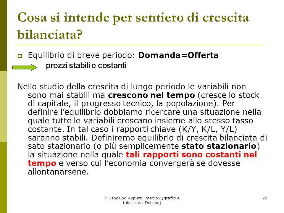 R.Capolupo-Appunti macro2 (grafici e tabelle dal DeLong) 28 Cosa si intende per sentiero di crescita bilanciata? Equilibrio di breve periodo: Domanda=